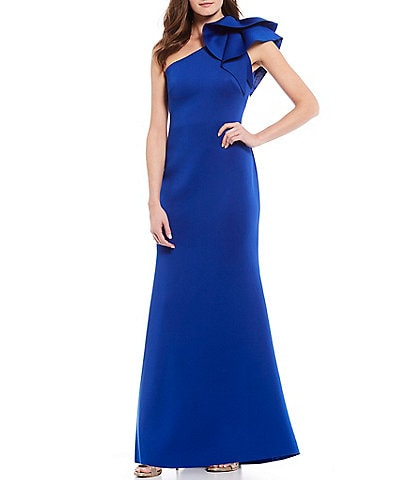 Eliza J One Shoulder Rosette Pleat Back Trumpet Gown