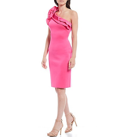 Eliza J One Shoulder Ruffle Scuba Crepe Bodycon Dress