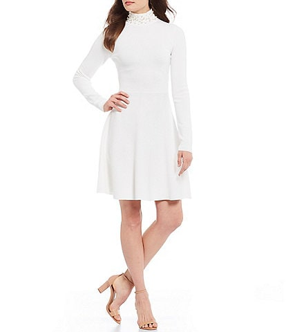 Eliza J Pearl Mock Neck Long Sleeve A-Line Dress
