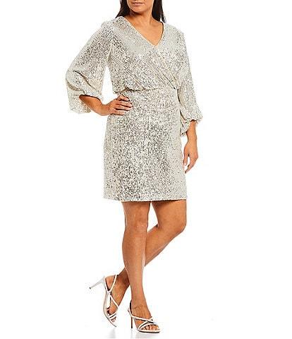 Eliza J Plus Size Allover Sequin Faux Wrap V-Neck 3/4 Sleeve Blouson Dress