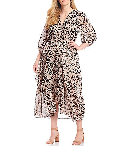 Eliza J Plus Size Animal Print Hi-Low 3/4 Sleeve Midi Wrap Dress