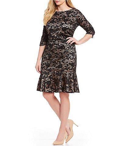 Eliza J Plus Size Boat Neck 3/4 Sleeve Ruffle Hem Lace Dress