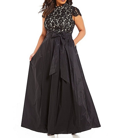 Eliza J Plus Size Cap Sleeve Lace Bodice Bow Waist Pleated Skirt Ballgown