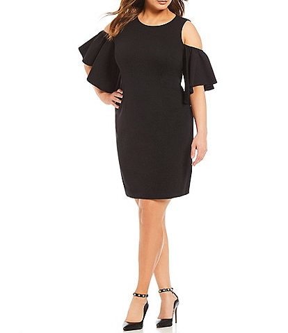 Eliza J Plus Size Cold Shoulder Ruffle Sleeve Sheath Dress