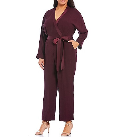 Eliza J Plus Size Crepe Back Satin Surplice V-Neck Long Sleeve Wrap Bodice Jumpsuit