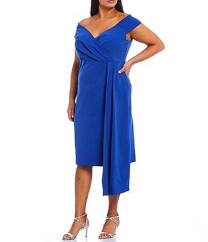 Eliza J Plus Size Crepe Off-the-Shoulder Asymmetrical Pleated Detail Cocktail Dress