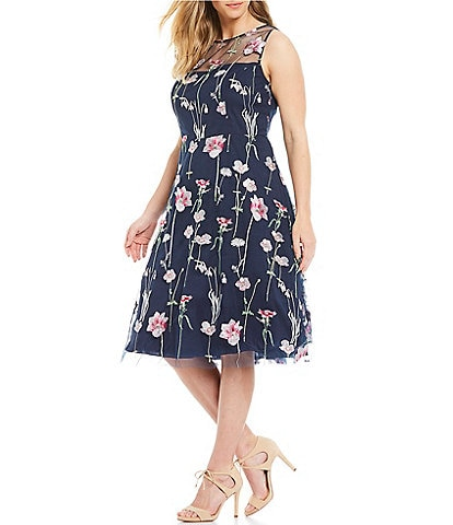 Eliza J Plus Size Embroidered Illusion Fit and Flare Midi Dress