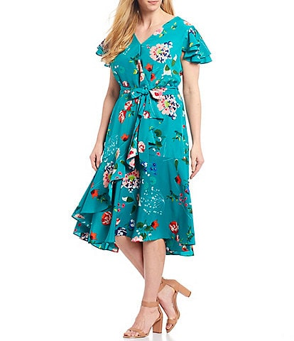 Eliza J Plus Size Faux Wrap V-Neck Short Sleeve Floral Midi Dress