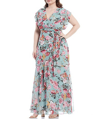Eliza J Plus Size Floral Faux Wrap Ruffle Maxi Dress