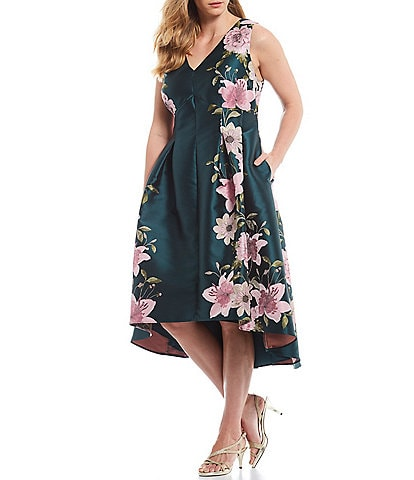 Eliza J Plus Size Floral Print Jacquard Fit and Flare Hi-Low Midi Dress