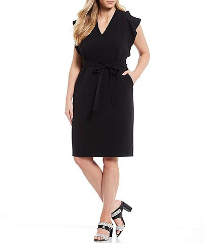 Eliza J Plus Size Flutter Sleeve Crepe Tie Waist Sheath Dress