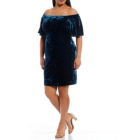 Eliza J Plus Size Flutter Sleeve Off the Shoulder Velvet Sheath Dress