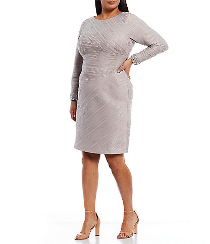 Eliza J Plus Size Long Sleeve Beaded Cuff Sheath Dress