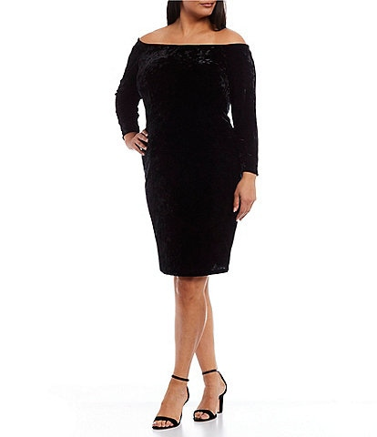 Eliza J Plus Size Long Sleeve Off-The-Shoulder Sheath Dress