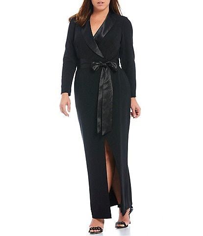 Eliza J Plus Size Long Sleeve Satin shawl Collar V Neck Tuxedo Faux Wrap Gown