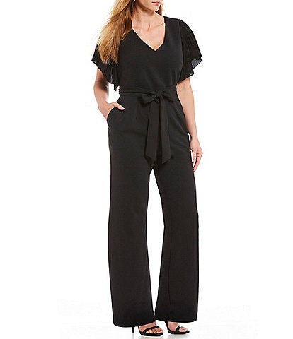 Eliza J Plus Size Pleated Flutter Sleeve Jumpsuit