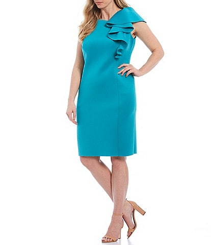 Eliza J Plus Size Ruffle Sleeve Scuba Sheath Dress