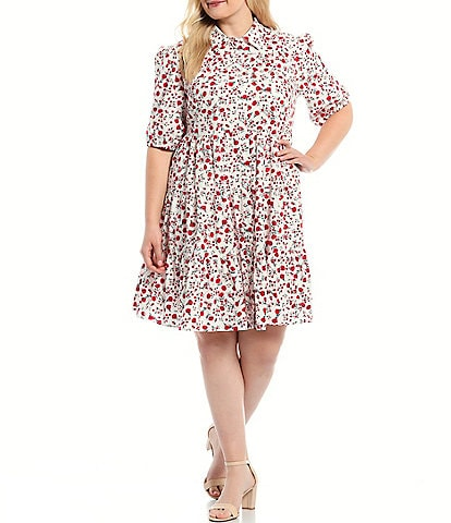 Eliza J Plus Size Short Sleeve Babydoll Ditzy Floral Tiered Shirtdress