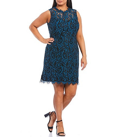 Eliza J Plus Size Sleeveless Lace Sheath Dress