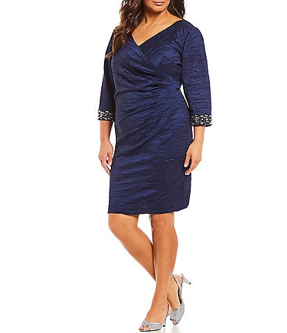 Eliza J Plus Size V-Neck 3/4 Sleeve Beaded Detail Ruched Sheath Dress