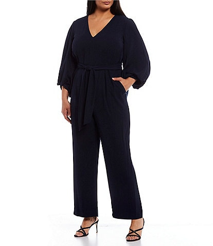 Eliza J Plus Size V-Neck Balloon Sleeve Jumpsuit
