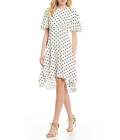 Eliza J Polka Dot Flounce Sleeve Hi-Low Midi Dress