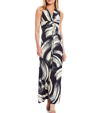Eliza J Printed Jersey Knot Front Sleeveless Ankle Length Maxi Dress