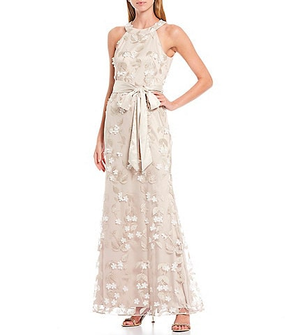 Eliza J Round Neck Sleeveless Tie Waist 3D Floral Applique Gown