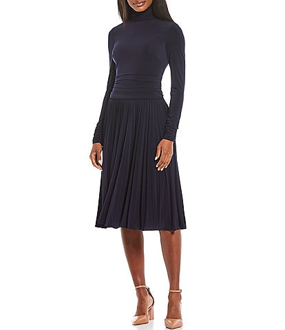 Eliza J Ruched Knit Jersey Midi Dress
