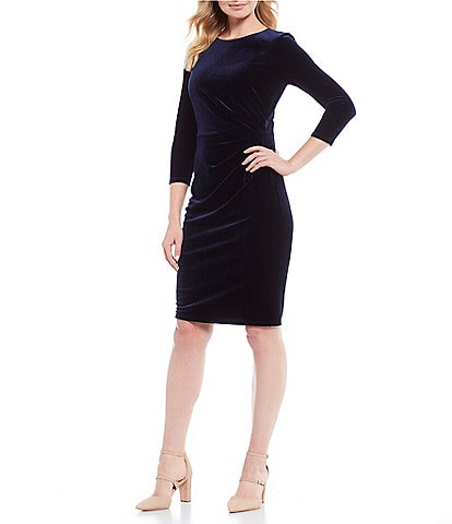 Eliza J Ruched Velvet Sheath Dress