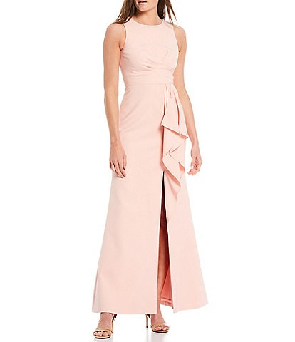 Eliza J Ruffle Front Crepe A-Line Gown