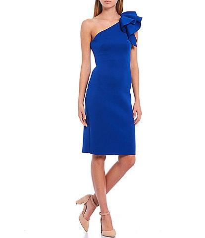 Eliza J Ruffle One Shoulder 3D Scuba Sheath Dress
