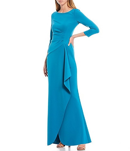 Eliza J Side Ruffle 3/4 Sleeve Scuba Gown