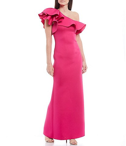 Eliza J Ruffled One Shoulder Scuba Column Gown