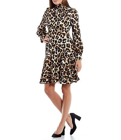 Eliza J Satin Animal Print Long Sleeve Mock Neck Fit and Flare Dress