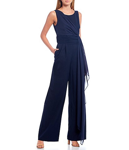 Eliza J Scoop Neck Sleeveless Flowy Tie Waist Jumpsuit