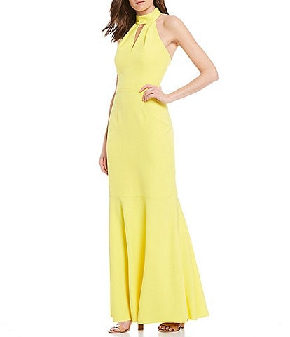 Eliza J Scuba Halter Neck Key Hole Cutout Sleeveless Gown