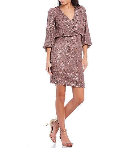 Eliza J Sequin Surplice V-Neck 3/4 Balloon Sleeve Blouson Dress