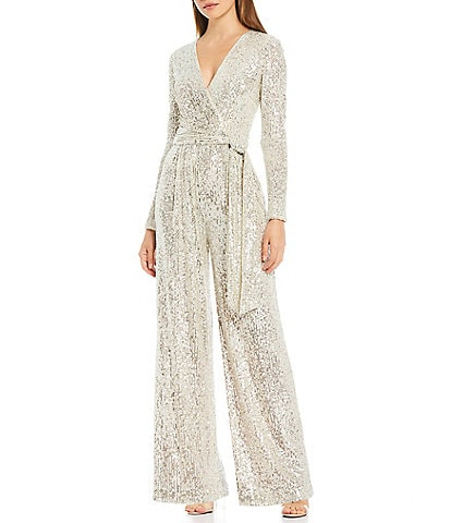 Eliza J Allover Sequin V-Neck Long Sleeve Faux Wrap Belted Wide Leg Jumpsuit