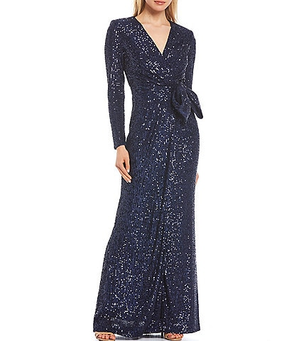 Eliza J Sequined Long Sleeve Bow Waist Gown