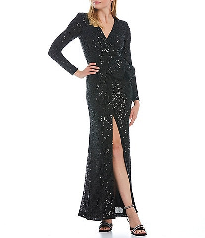 Eliza J Sequined Long Sleeve V-Neck Mesh Bow Waist Gown