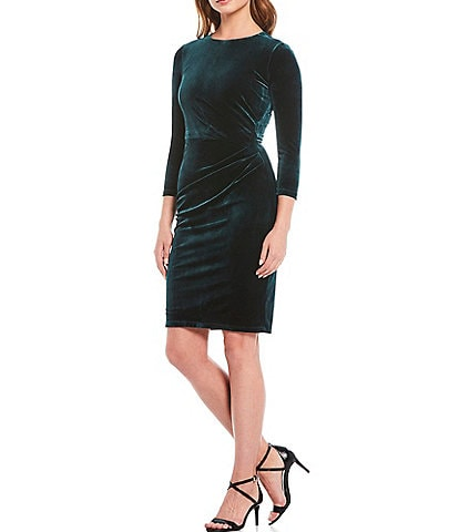 Eliza J Side Pleat Velvet Sheath Dress