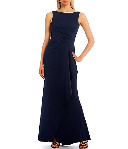 Eliza J Side Rouch Sleeveless Boat Neck Ruffle Scuba Gown