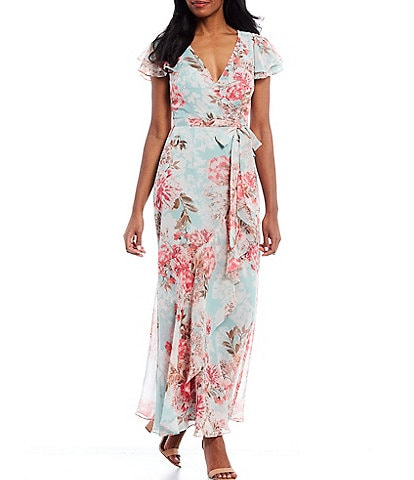 Eliza J Side Ruffle Floral Printed Chiffon Faux Wrap Ankle Length Maxi Dress