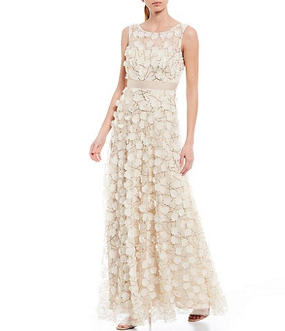 Eliza J Sleeveless 3-D Flower A-Line Gown