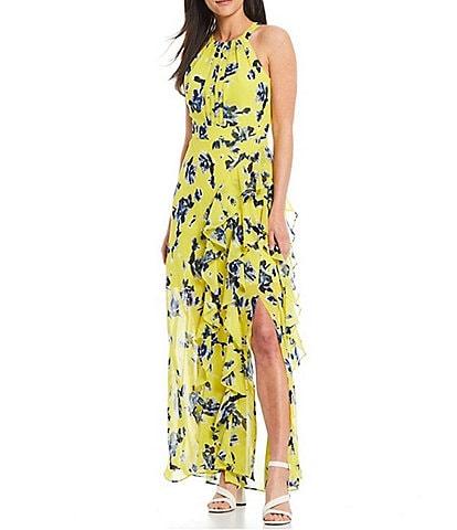 Eliza J Sleeveless Floral Maxi Halter Dress
