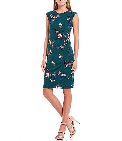 Eliza J Sleeveless Side Ruched Floral Print Jersey Dress