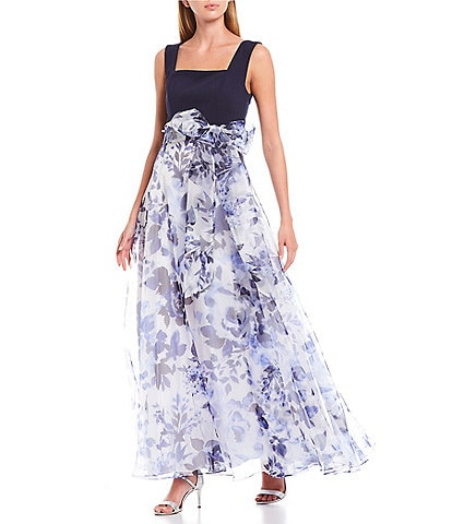 Eliza J Square Neck Sleeveless Blue Floral Print Waist Bow Detail Organza Ball Gown