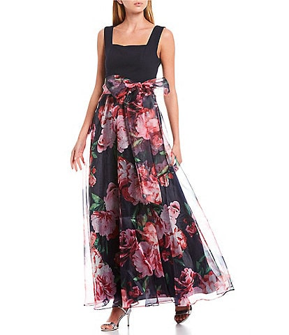 Eliza J Square Neck Sleeveless Floral Print Bow Waist Detail Organza Ball Gown