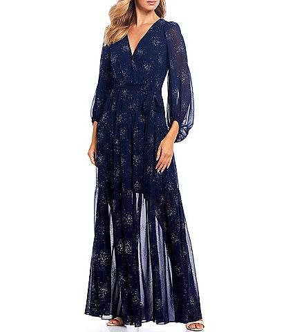 Eliza J Star Open Back Bishop Sleeve Chiffon Maxi Dress